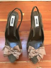 moschino green suede bow platform heels shoes pumps Sz 37.5 ITALY $525