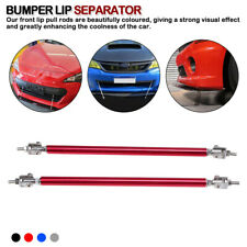 "Red Adjustable 7.9""-13"" Front Bumper Lip Splitter Rod Strut Tie Bar Support"