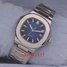 Automatik Herrenuhr 40mm Bliger steril Blau dial Datum Saphirglas Square watch