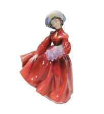 Royal Doulton Lilac Time Porcelain Figurine Woman Flowers Red Dress England