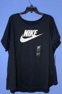 RARE! Women's Nike Sportswear Black Cotton Logo T-Shirt CJ2301 010 Plus Size 3X
