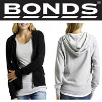 Authentic Bonds Womens Long Sleeve Fit Hoodie Zip Jacket Cotton Black Grey CZ9EI