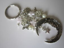 Celestial Keyring / Bag Charm - Vintage Style - White - Sun, Moon & Stars