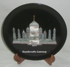 Beautiful Marble Taj Mahal Inlay Plate, Handmade Marble Inlay Decorative Plates