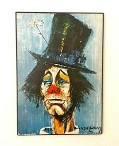 Rosy Fernandez-Diaz Vintage Painting Clown Au Chapeau Signed Print on Wood