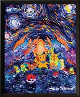 Pikachu and Pokemon Go Van Gogh Starry Night Baby Wall Decor Art Print A004