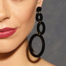 Women Jewelry Earrings Acrylic Black Rings Dangle Long Drop Hoop Ethnic Girls