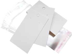 Jewellery Display Cards Earring White & Self Adhesive Bags 9cm x 5cm