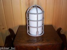 Industrial Adelet VGA-27 Explosion Proof Cage w/Rare Milk Glass Globe