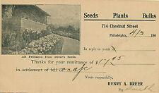 DREER SEEDS-PLANTS-BULBS. PHILADELPHIA, PA. ADV POSTAL CARD #UX18. 1906.