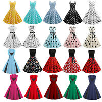 Womens Polka Dot Rockabilly Dress 50s Swing Pinup Dresses Cocktail Evening Party