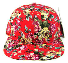 RED FLORAL HAWAIIAN PRINT SNAPBACK HAT CAP ROSE ADJUSTABLE FLAT BILL RETRO NWT