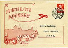 Ganzsachen-Brief Bern Schweiz Philatelisten Kongress o 1929