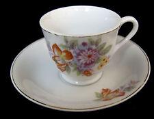Tea Cup Saucer Vintage Made in JAPAN Bone China Gold Trim Floral