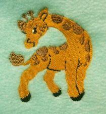Baby's Fleece Cot Blanket - Giraffe - personalised with baby's name - GREEN