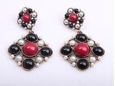 Elegante Zara Stile Barocco PEARL RED BLACK DROP Gripoix Orecchini Nuovi