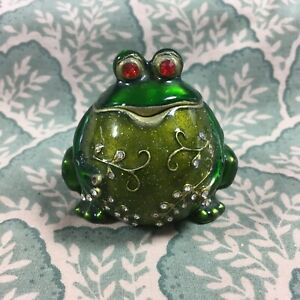 Frog Jeweled Case Jewelry Knick Knack Trinket Pill Box Container
