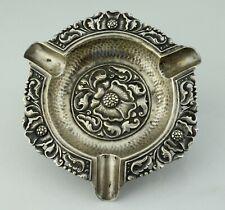 Yogya / Djokya .800 Silver Indonesian Javanese Floral Ashtray  68.5 grams