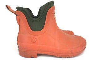 Hunter Kids Orange Green Waterproof Short Rain Boot Size 2 Ankle Galoshes Slip R