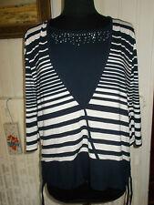 Tee shirt top viscose bleu rayé blanc strass BONITA XL 44/46 manches 3/4