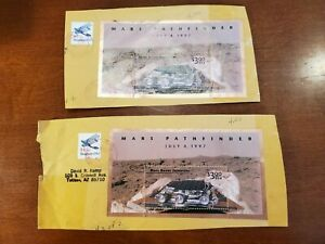 US Scott #3178 TWO USED on pieces, $3.00 Mars Pathfinder Souvenir Sheets!