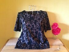New size 10 vintage 50's look floral devore brown black zip up party cruise top
