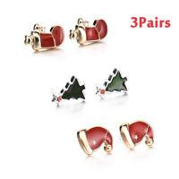 Lovely Christmas Xmas Women Jewellery Santa Claus Xmas Tree Earrings Stud Gift
