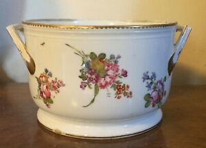 Antique 18th c. French Paris Porcelain Cachepot Fruit Cooler Bowl Locre Flowers