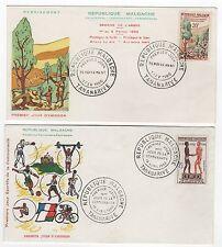 Madagascar  Tatanarive 2 FDC enveloppes timbres 1er jour 1960 /FDC114