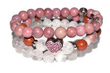 3 Love Crystal Bracelet Red Jasper Rose Quartz Rhodonite Rhinestone Steel Heart