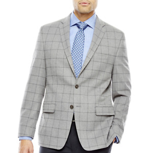Michael Strahan Grey Windowpane Classic Fit Sport Coat 50SHORT, 50LNG, 52LNG