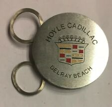 Cadillac Keychain Ring Hoyle Dealer Vintage Auto Silver Tone Metal Folding