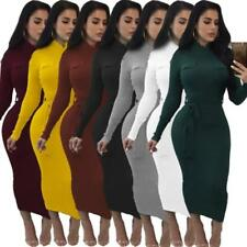 Abito aderente Scollo Costine Maglia Tubo Casual Party Ballo Ribbed Knit Dress M