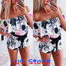 New Women Off Shoulder Lace Up Bow Romper Jumpsuit Shorts Ruffle Floral Party US