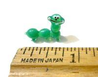 Adorable Miniature Hand Blown Glass Caterpillar Figurine Green