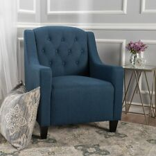 Canberra Dark Blue Fabric ArmChair Lounge Arm Tub Chair Sofa
