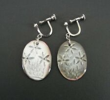 Vintage Carved Flowers Abalone Silver Plate Screw Back EARRINGS