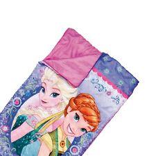 Disney Frozen Pink Sleeping Bag Elsa Anna Kids Camping Warm with Fun Carry Case