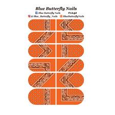 1242 - Orange Paisley Bandana Bandanna Nail Water Decals