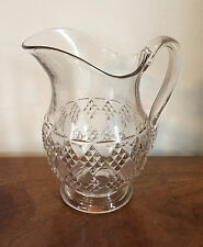 Large Antique EAPG Glass Water Pitcher Milk Jug American Diamond Pattern 19th c.