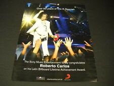 ROBERTO CARLOS Over 50 Years Of Hits In Spanish PROMO DISPLAY AD mint condition