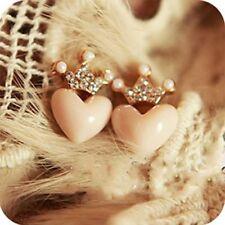 1Pair Fashional Women Austrian Crystal Crown Pink Pearl Heart Earrings Princess
