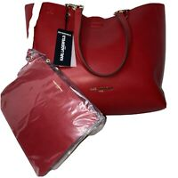 Karl Lagerfeld Women's Adele Paris Large Tote Handbag & Wristlet in red