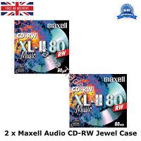 2 x Maxell Audio CD-RW Jewel Case ReWritable Recordable Blank Music 80 Min Disc