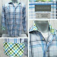 THOMAS DEAN L Large Button Front Casual Long Sleeve Shirt Flip Cuffs Blue+