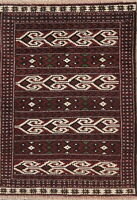 Tribal Geometric Balouch Oriental Area Rug Wool Hand-Knotted Foyer Carpet 3'x4'