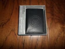 NEW U.S NAVY LEATHER TRIFOLD WALLET GENUINE BLACK COWHIDE EMBOSSED NAVY CREST