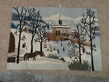 """Vintage 39"""" x 27"""" Wool Woven Winter Scene Wall Tapestry Made by Mothers Commeren"""