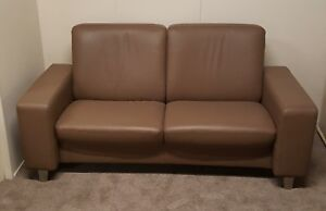 Ekornes Stressless Space 2 Seater Sofa in Classic Sahara Leather Ex-Display