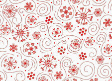 "HOLLY JOLLIES SNOWFLAKES  RED SWIRL QUILTING TREASURE  COTTON FABRIC  8"" REMNANT"